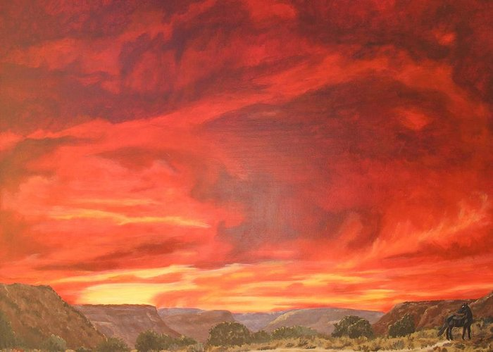 Western Greeting Card featuring the painting One Last Look by Janis Mock-Jones