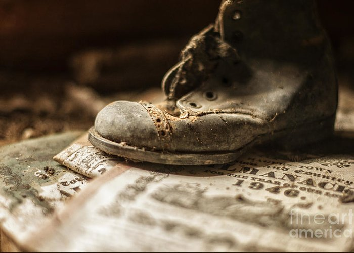 Child Greeting Card featuring the photograph One Single Shoe by Terry Rowe