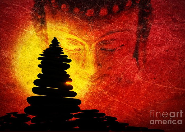 Buddha Greeting Card featuring the photograph One Stlll Moment by Tim Gainey