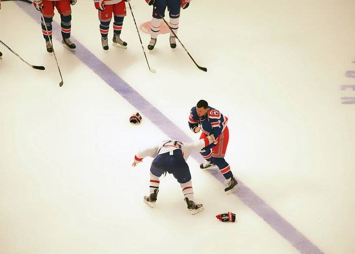 Hockey Greeting Card featuring the photograph One Two Punch by Karol Livote