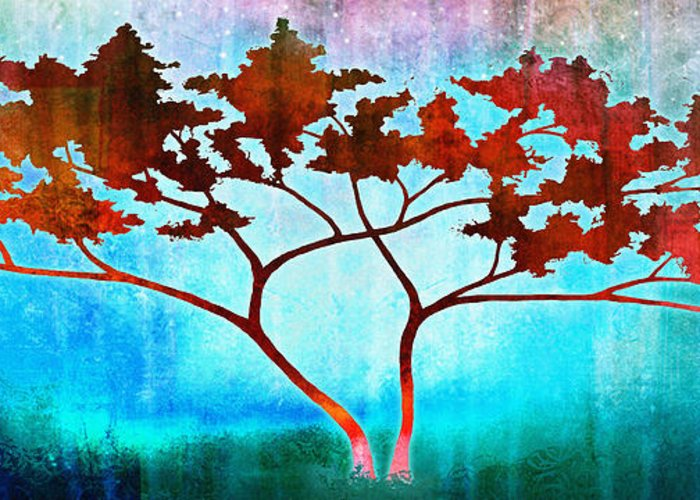 Tree Art For Sale Greeting Card featuring the mixed media Oneness by Jaison Cianelli