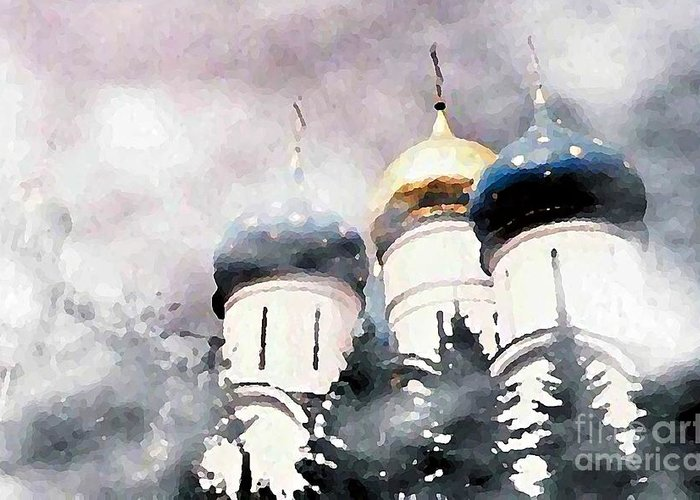 Church Greeting Card featuring the photograph Onion Domes In The Mist by Sarah Loft