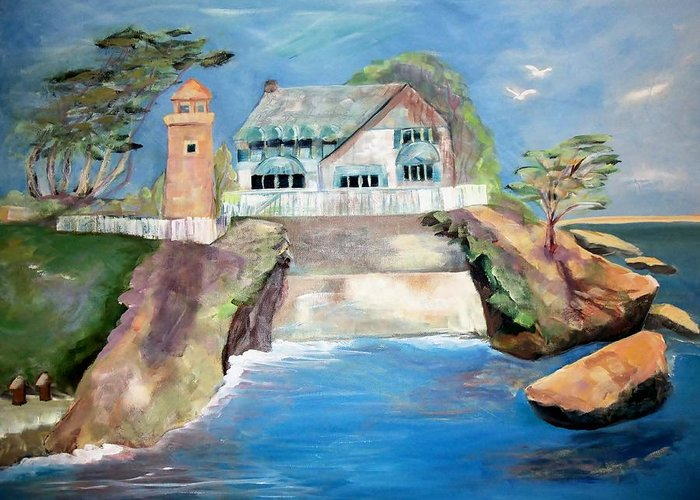 Shell Beach Greeting Card featuring the painting Opera By The Sea by Jan Moore