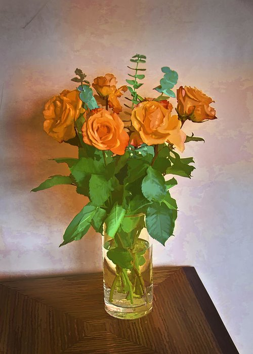 Roses Greeting Card featuring the photograph Orange And Green by John Hansen