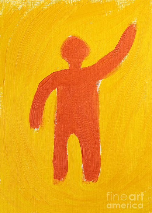 Prometheus Greeting Card featuring the painting Orange Person by Igor Kislev