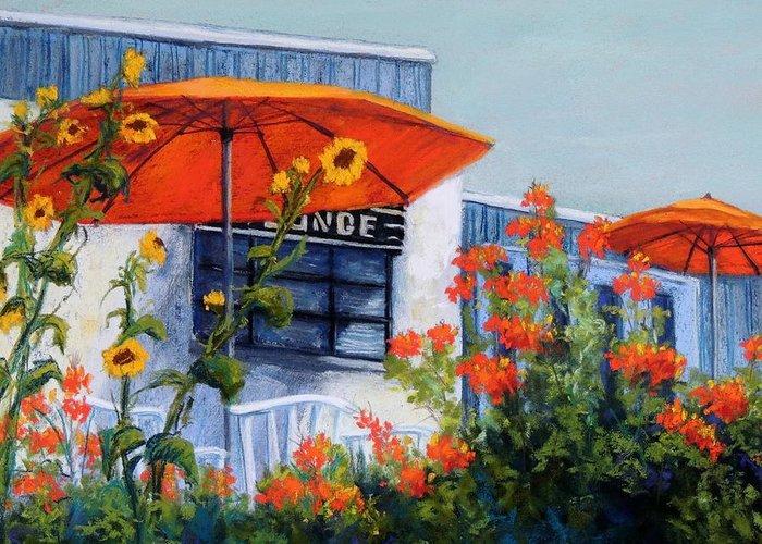 Orange Umbrellas Greeting Card featuring the pastel Orange Umbrellas by Candy Mayer