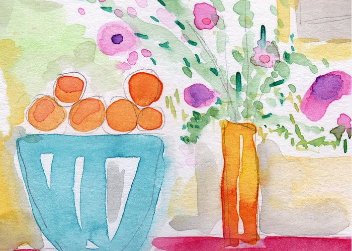Oranges Greeting Card featuring the painting Oranges In Blue Bowl- Watercolor Painting by Linda Woods
