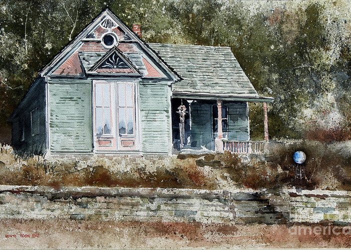 A Small House With A Victorian Features Nestles Against The Woods In Eureka Springs Greeting Card featuring the painting ORB by Monte Toon