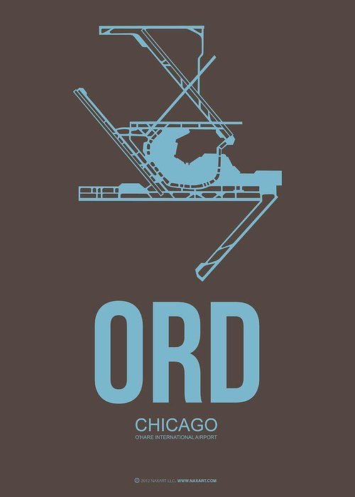 Chicago Greeting Card featuring the digital art Ord Chicago Airport Poster 2 by Naxart Studio
