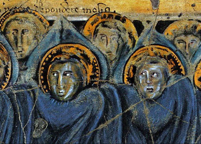 Angels Greeting Card featuring the painting Order Of Cherubim Angels - Study No. 2 by Steve Bogdanoff