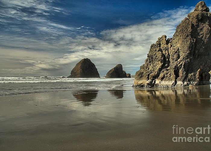Meyers Creek Greeting Card featuring the photograph Oregon Sea Stack Reflections by Adam Jewell