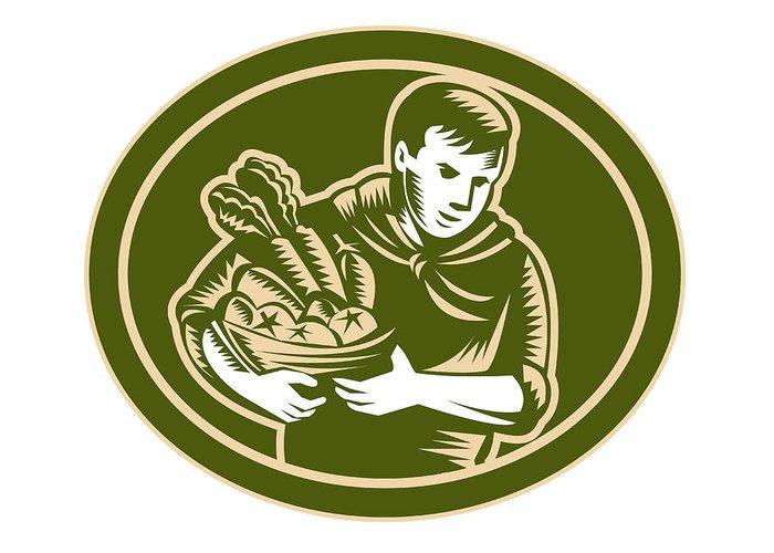 Organic Farmer Greeting Card featuring the digital art Organic Farmer Crop Harvest Woodcut by Aloysius Patrimonio