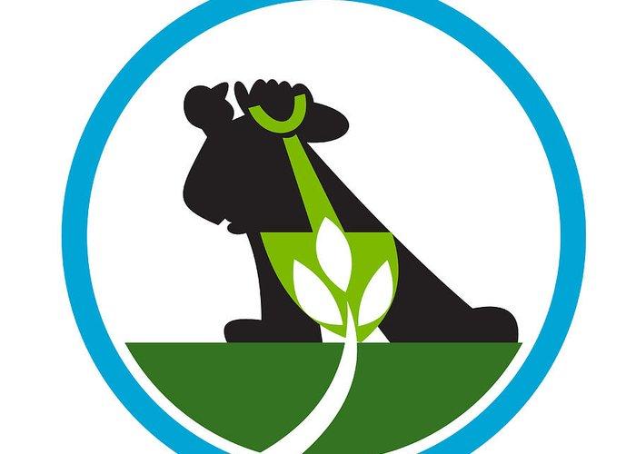 Organic Farmer Greeting Card featuring the digital art Organic Farmer Shovel Plant Circle by Aloysius Patrimonio