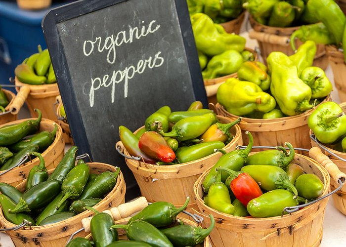 Baskets Greeting Card featuring the photograph Organic Peppers At Farmers Market by Teri Virbickis