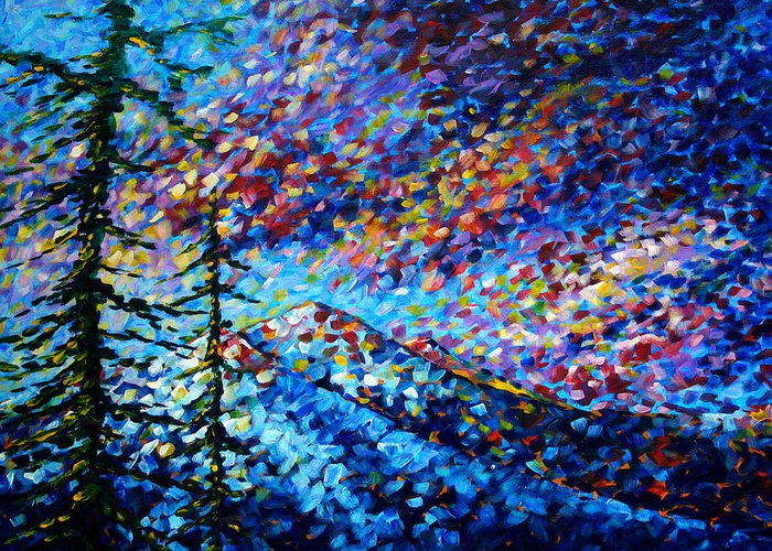 Abstract Greeting Card featuring the painting Original Abstract Impressionist Landscape Contemporary Art By Madart Mountain Glory by Megan Duncanson