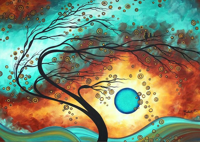 Abstract Greeting Card featuring the painting Original Bold Colorful Abstract Landscape Painting Family Joy II By Madart by Megan Duncanson