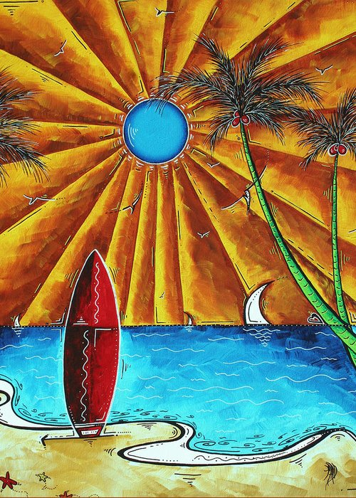 Abstract Greeting Card featuring the painting Original Tropical Surfing Whimsical Fun Painting Waiting For The Surf By Madart by Megan Duncanson