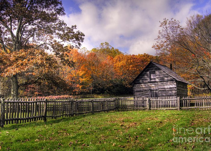 Blue Ridge Parkway Greeting Card featuring the photograph Orlean Puckett's Cabin by Benanne Stiens