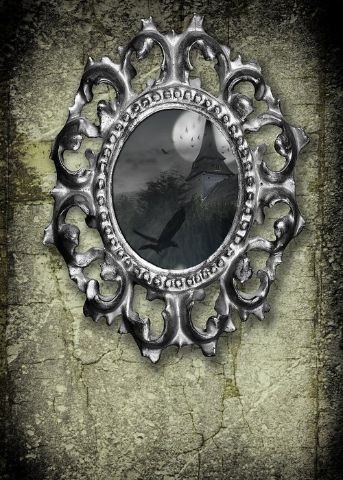 Ornate Greeting Card featuring the photograph Ornate Metal Mirror Reflecting Church by Amanda And Christopher Elwell