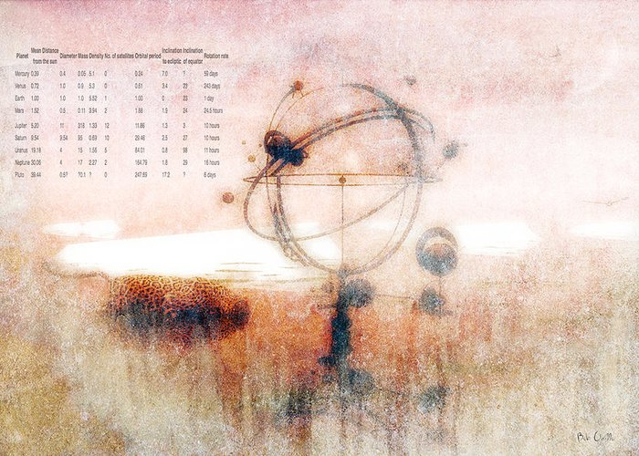 Orrery Greeting Card featuring the digital art Orrery by Bob Orsillo