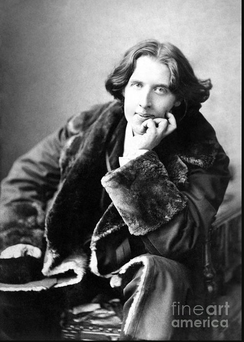 1900; Writer; Seated; Fur-trimmed Coat; Author; Oscar Wilde Greeting Card featuring the photograph Oscar Wilde In His Favourite Coat 1882 by Napoleon Sarony