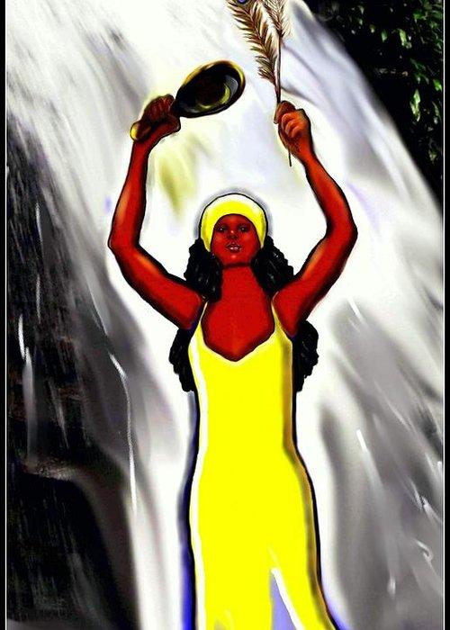 Oshun Greeting Card featuring the digital art Oshun -goddess Of Love -4 by Carmen Cordova