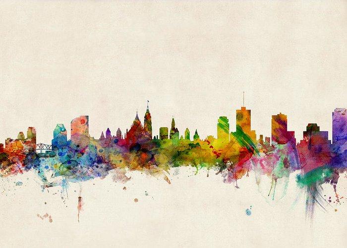 Ottawa Greeting Card featuring the digital art Ottawa Skyline by Michael Tompsett