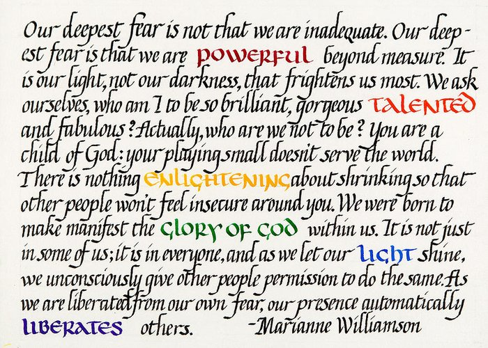 Calligraphy Greeting Card featuring the mixed media Our Deepest Fear by Sondra Venable