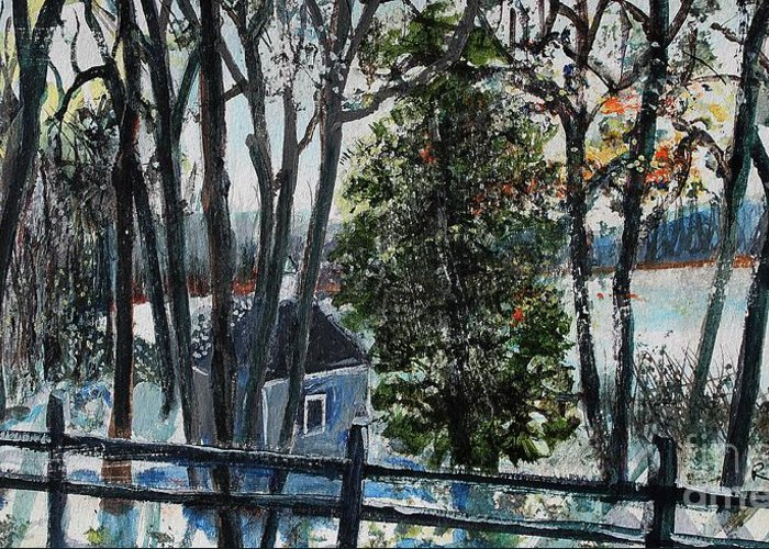 Walden Pond Greeting Card featuring the painting Out Of The Woods At Walden Pond by Rita Brown