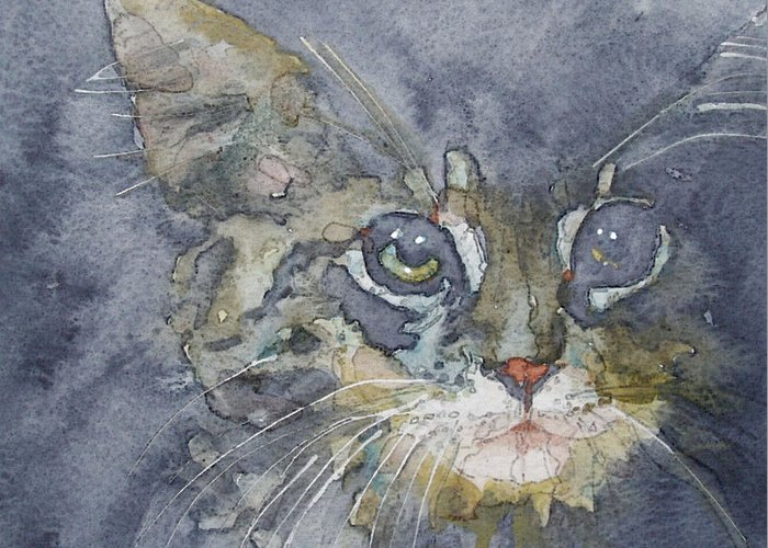 Tabby Greeting Card featuring the painting Out The Blue You Came To Me by Paul Lovering