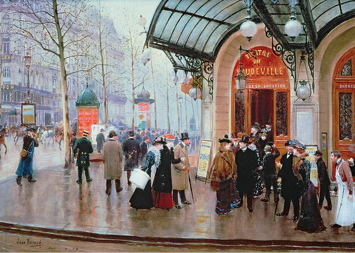 Billboard Greeting Card featuring the painting Outside The Vaudeville Theatre by Jean Beraud