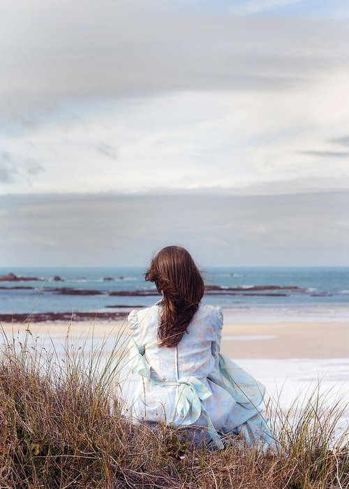 Woman Greeting Card featuring the photograph Overlooking The Sea by Joana Kruse