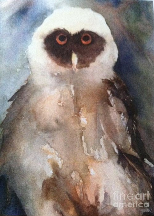 Owl Greeting Card featuring the painting Owl by Sherry Harradence