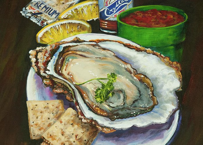 Oyster Greeting Card featuring the painting Oyster And Crystal by Dianne Parks