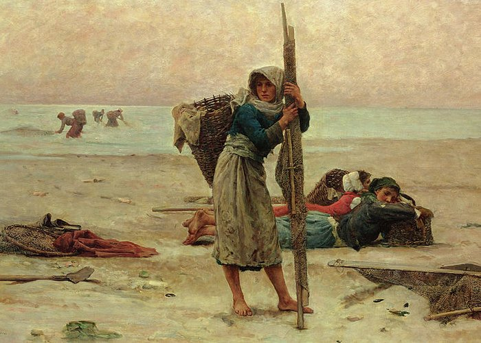Beach Greeting Card featuring the painting Oyster Catching by Pierre Celestin Billet
