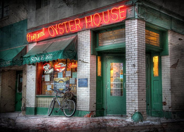 Original Oyster House Greeting Card featuring the photograph Oyster House by Lori Deiter