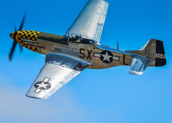 P51 Photographs Photographs Greeting Card featuring the photograph P-51 Mustang Break Out Roll by Puget Exposure