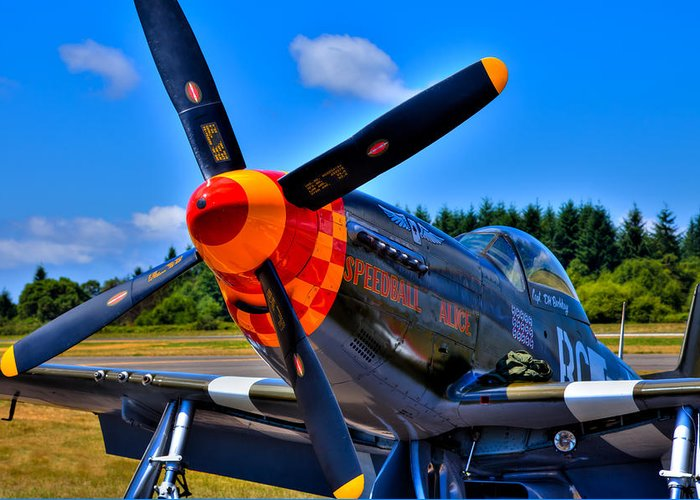 P-51 Speedball Alice Mustang Greeting Card featuring the photograph P-51 Mustang - Speedball Alice by David Patterson