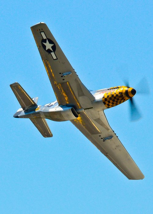 Aviation Greeting Card featuring the photograph P-51 Mustang Wing Over by Puget Exposure