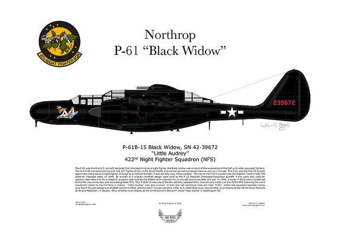 Northrop Greeting Card featuring the digital art P-61b Black Widow by Arthur Eggers