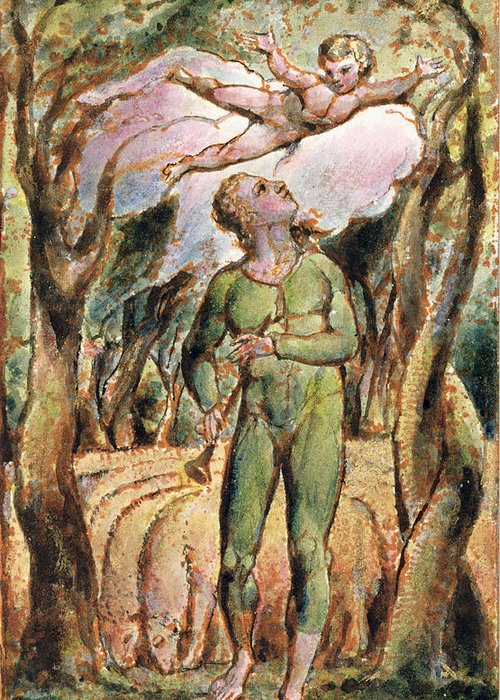 Shepherd Greeting Card featuring the painting P.125-1950.pt2 Frontispiece Plate 2 by William Blake