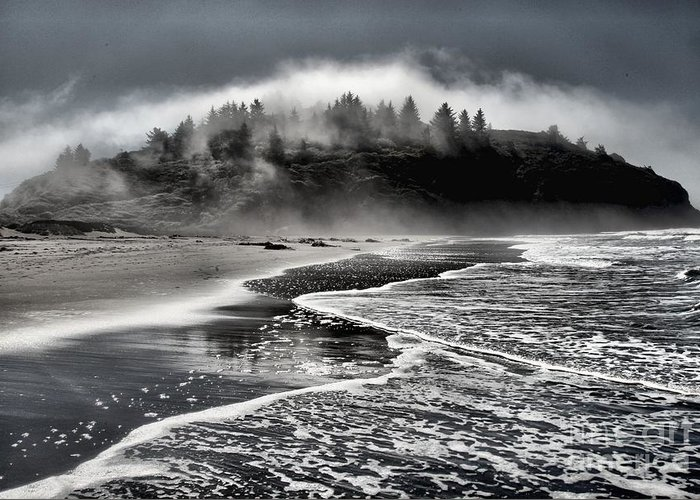 Trinidad Beach Greeting Card featuring the photograph Pacific Island Fog by Adam Jewell
