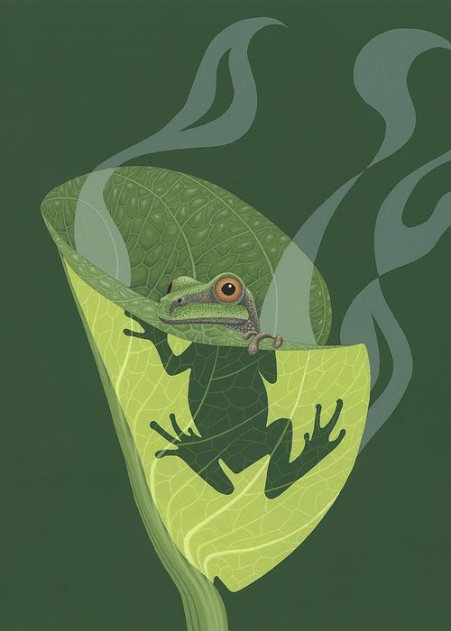 Painting Greeting Card featuring the painting Pacific Tree Frog In Skunk Cabbage by Nathan Marcy