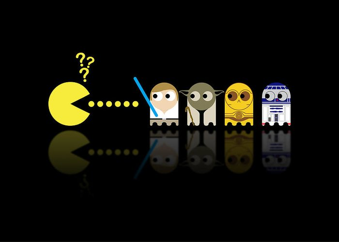 Pacman Greeting Card featuring the digital art Pacman Star Wars - 3 by NicoWriter
