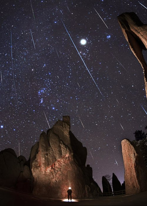 All Rights Reserved Greeting Card featuring the photograph Painting The Needles Under The Geminids Meteor Shower by Mike Berenson