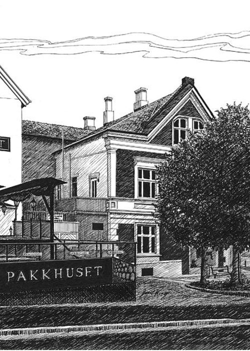 Pakkhuset Greeting Card featuring the drawing Pakkhuset by Janet King