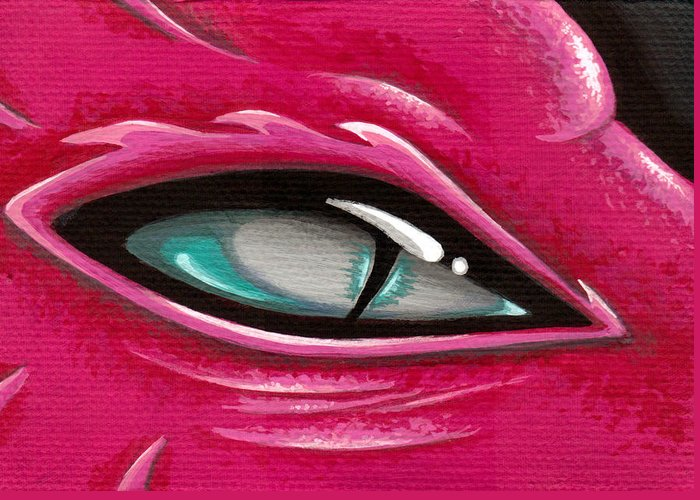 Pink Dragon Greeting Card featuring the painting Pale Eye Of Tourmaline by Elaina Wagner