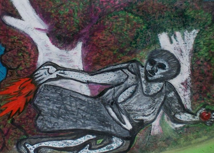Trending Greeting Card featuring the drawing Paleolithic Era Man by Jonathon Hansen
