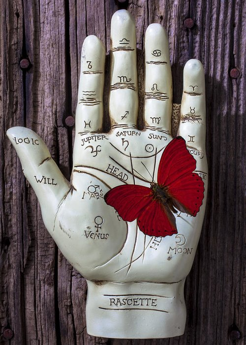 Palm Reader Hand Greeting Card featuring the photograph Palm Reading Hand And Butterfly by Garry Gay