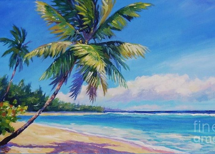 Cayman Greeting Card featuring the painting Palms On Tortola by John Clark